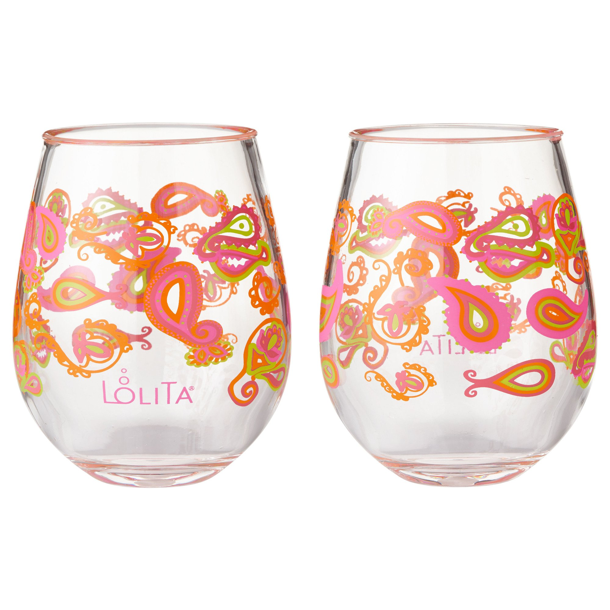 Enesco Designs by Lolita Paisley Acrylic Stemless Wine Glasses, Set of 2, 17 oz.