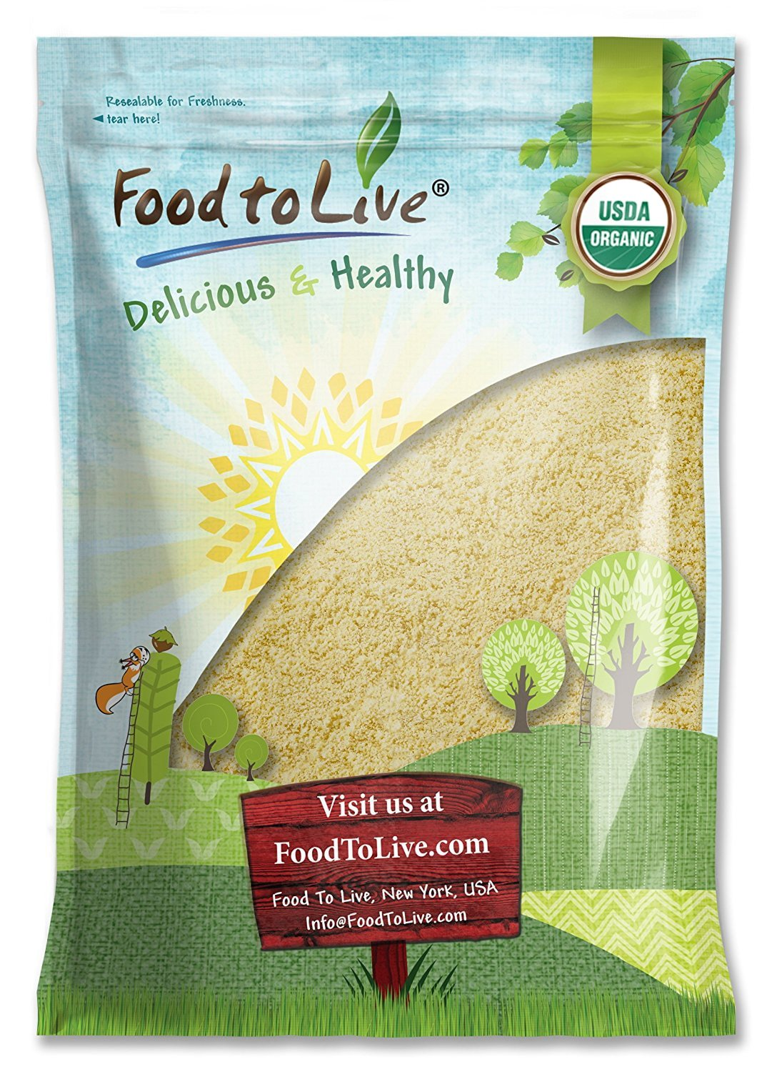 Organic Almond Flour, 8 Pounds - Extra Fine Blanched Prime Meal, Non-GMO, Low Carb, Culinary Grade, Kosher, Keto, Paleo and Vegan Super Powder, Bulk, Product of California by Food to Live