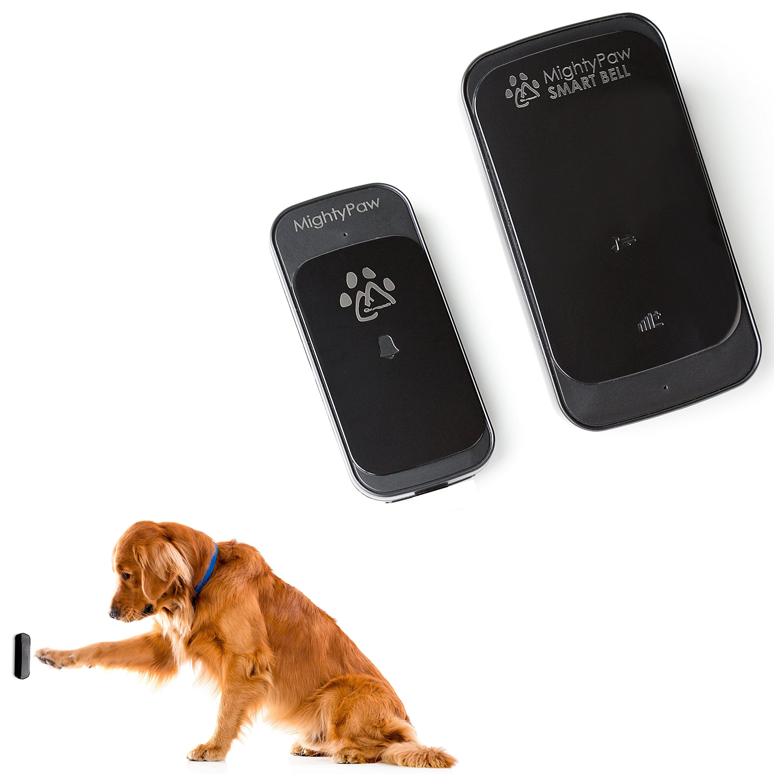 Mighty Paw Smart Bell, Wireless Dog Doorbell, Potty Bell for Dogs, Waterproof with Touch Pad Sensor. Includes Free Training Guide (Black, 1 Transmitter)... by Mighty Paw