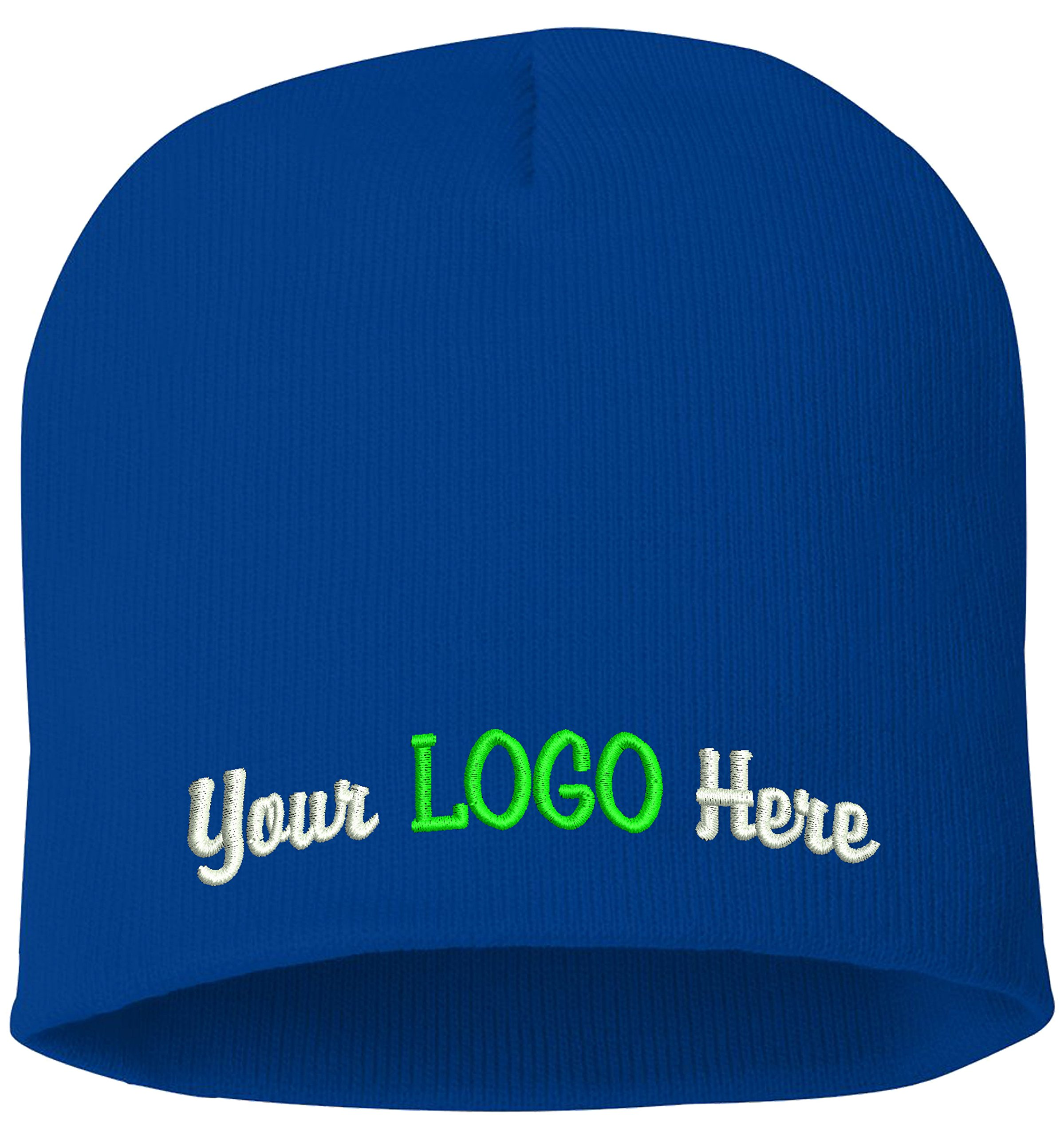 Peerless Skull Knit Hat With Custom Embroidery Your Text Here or Logo Here One Size SP08 (Royal Blue Knit W/Logo, 12)