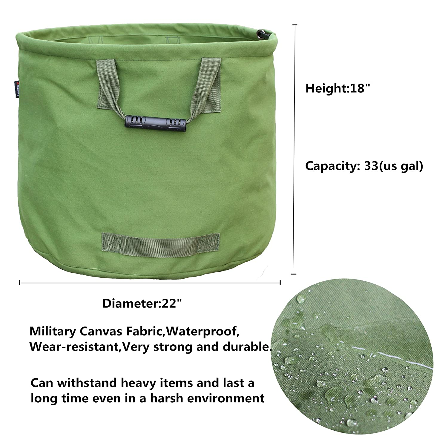 Green Amatory Garden Lawn Leaf Yard Waste Bag Container Tote Gardening Trash Reusable Heavy Duty Military Canvas Fabric 33 Gallon