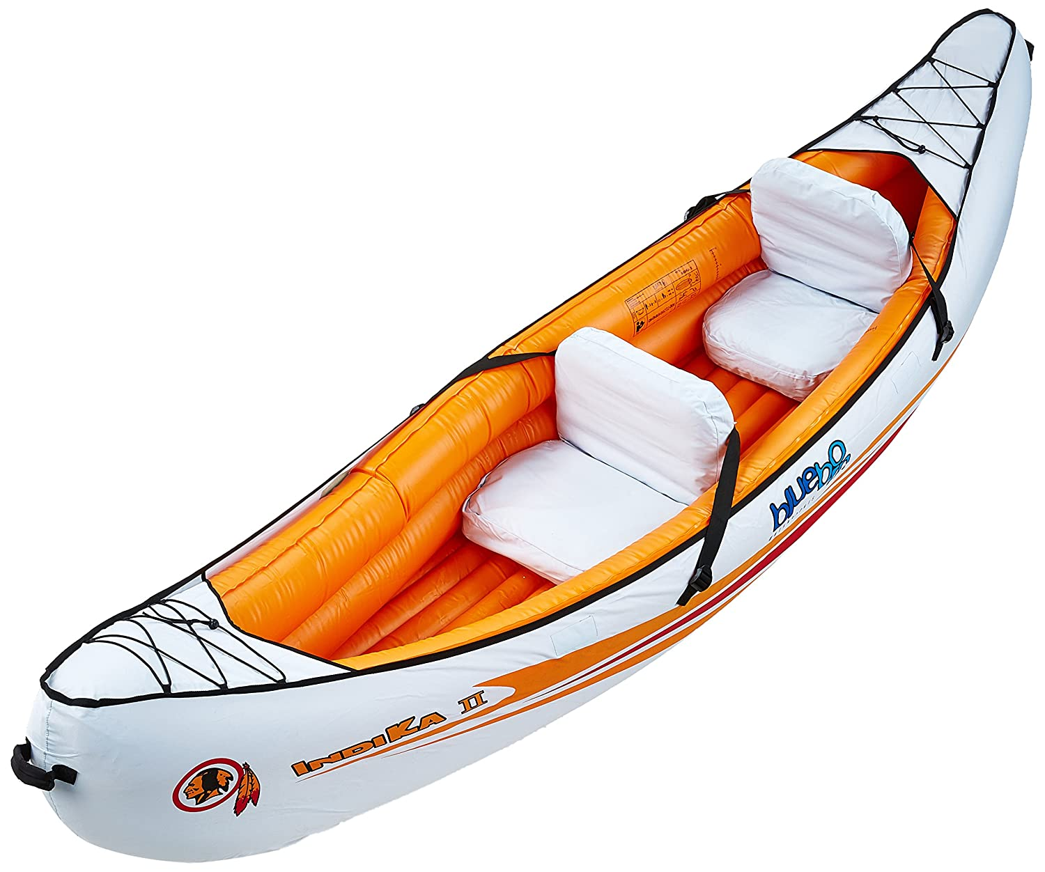 Blueborn Boat Indika 2 - 2 person canoe with nylon hull 325x80cm (load capacity 165kg) 520590 520590_hellblau/orange