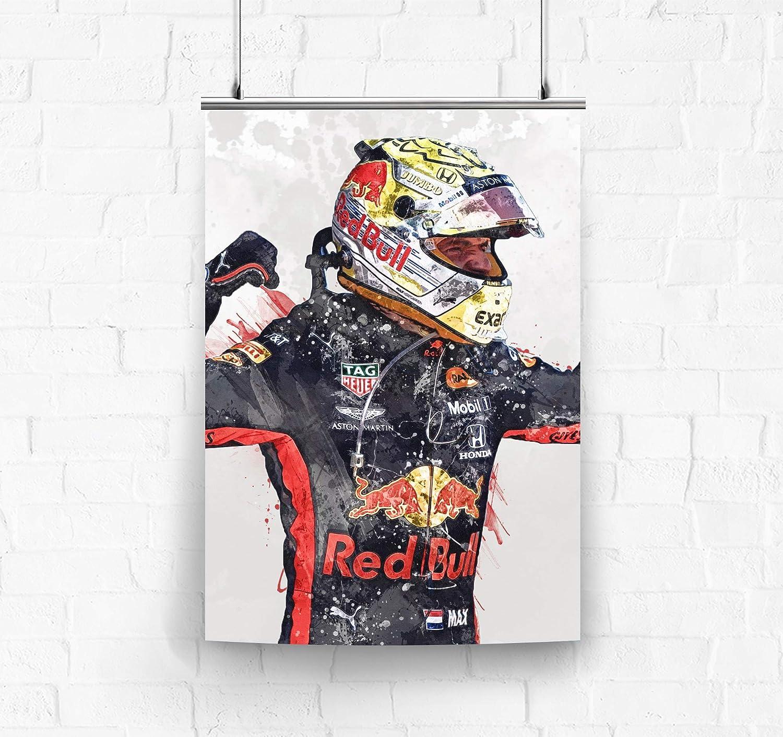 Amazon Com Topshelfprints Max Verstappen Red Bull Poster Canvas Print F1 Racing Artwork Kids Wall Decor Man Cave Sports Decor Clothing