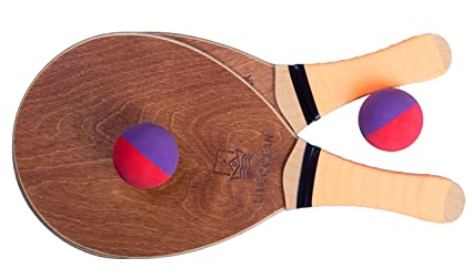LIVEOCEAN Beach Tennis Wooden Paddle Ball Set. Frescobol Paddle Ball Set. Beach bat Set