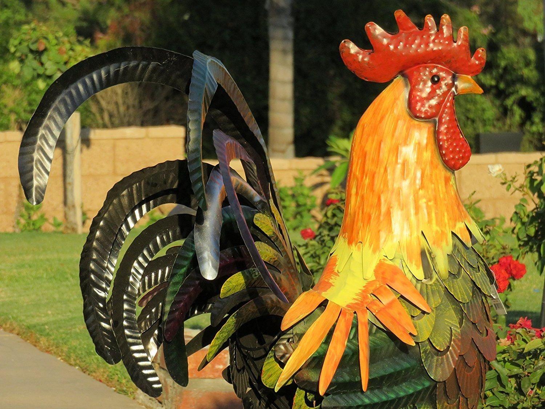 New Outdoor Indoor Accent Metal 32 inch Rooster Figurine Statues Decor