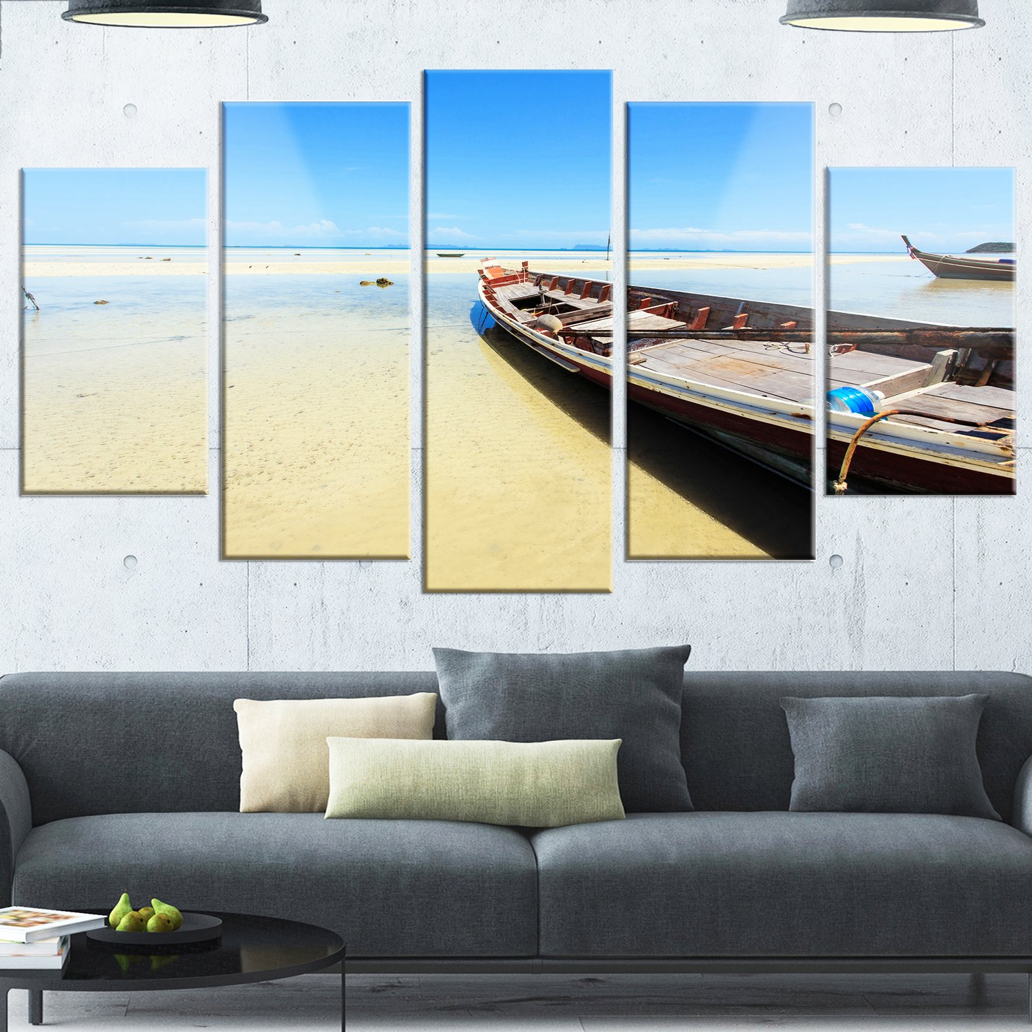 Designart MT14723-373 Traditional Thai Boat on Beach - Modern Seashore Canvas Metal Wall Art,Blue,60x32 by Design Art