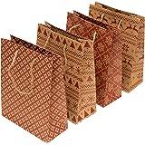 100%Mosel Geschenktüten, 18 x 23 x 8 cm, 12 Stück | Kraftpapier Geschenktaschen Rot bedruckt | Tüten für Weihnachtsgeschenke