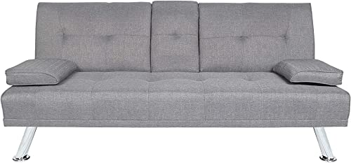 MOOSENG Home Futon Sofa Bed Modern Faux Leather Fold Up and Down Recliner Couch, Light Gray-d