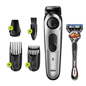 Braun Beard Trimmer BT5260, Hair Clipper for Men, 39 Length Settings, Black/Silver Metal