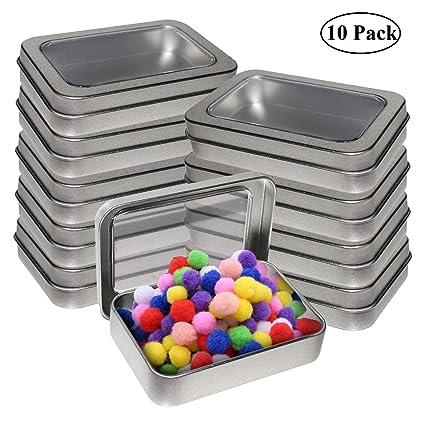 Cajas Metalicas Pequeñas (Pack 10) Latas de Aluminio Tapa Transparente sin Bisagra - 9cm x 6cm x 2cm - Latas Vacías para Cosméticos, Especias, Tarjeta ...