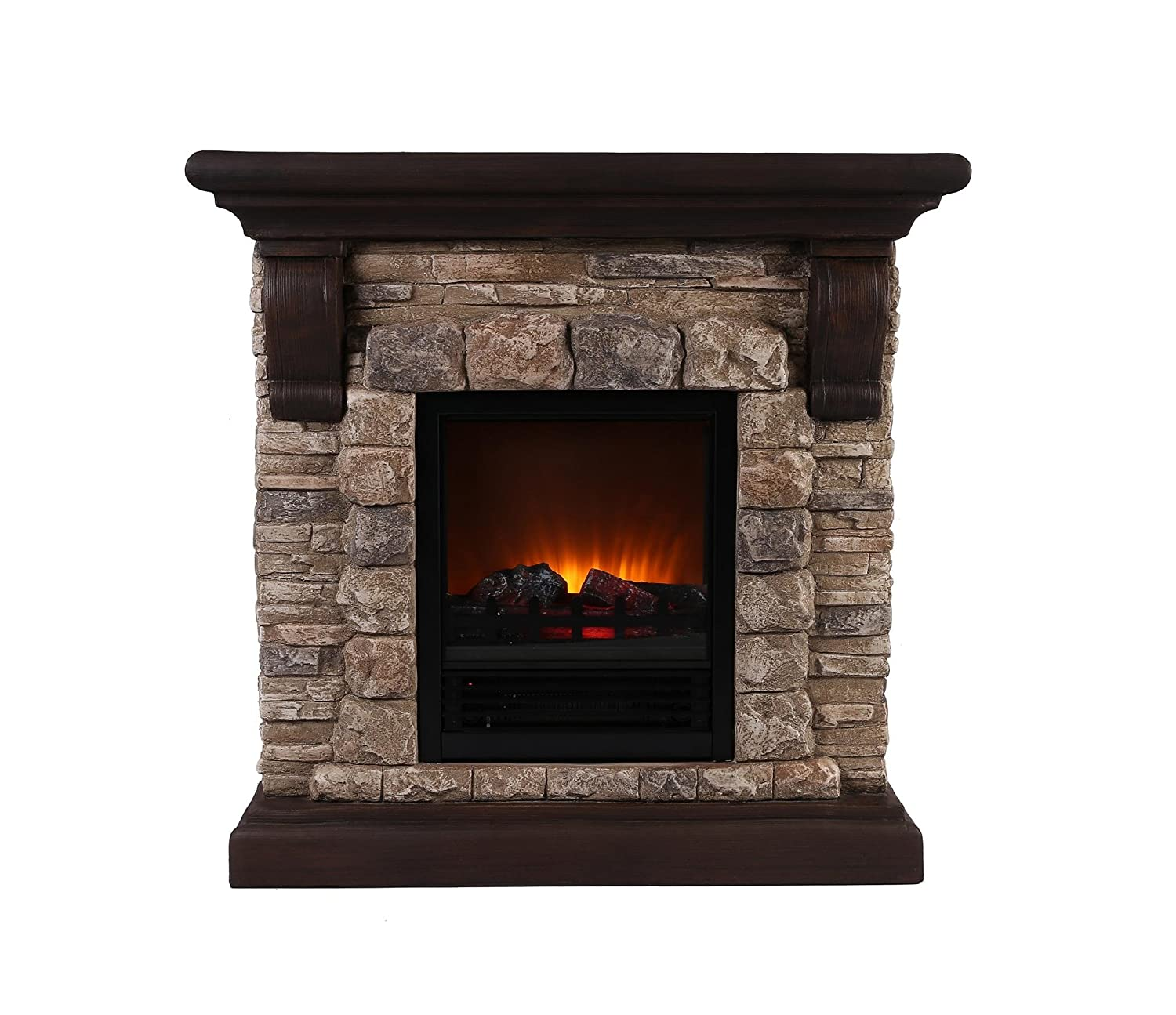 Amazon.com: OK Lighting Portable Fireplace with Faux Stone Dark ...