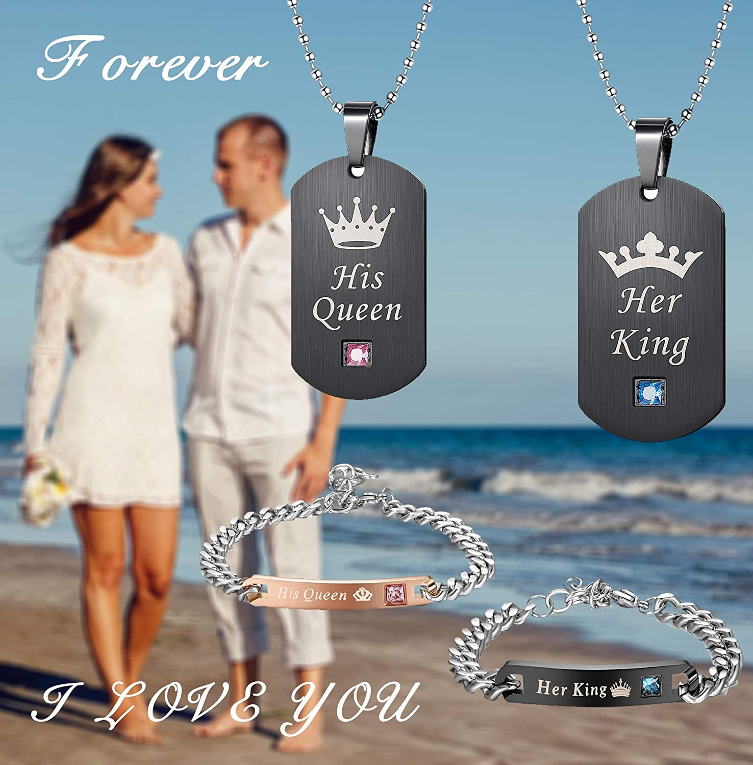 cce2fcb7a8 Women LOYALLOOK Couples Necklaces Bracelets Set for Him and Her His Queen  Her King Couples Jewelry ...