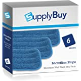 SupplyBuy Microfiber Wall Wash Mop Pads | Washable and Reusable | Pack of 6