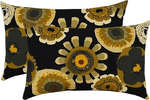 RSH D cor Set of 2 Indoor Outdoor Lumbar Rectangular Throw Pillows 12 x20 Crosby Ebony Black