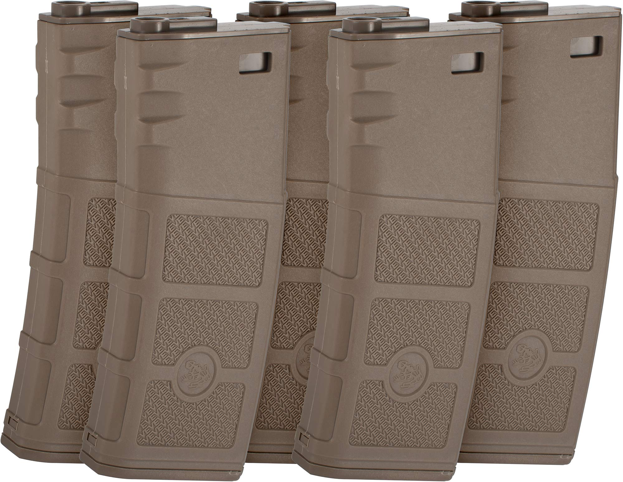 Evike G&P High RPS Polymer Magazine for M4 M16 Airsoft AEG Rifles (Type: 360rd Hi-Cap/Dark Earth / 5 Pack) by Evike