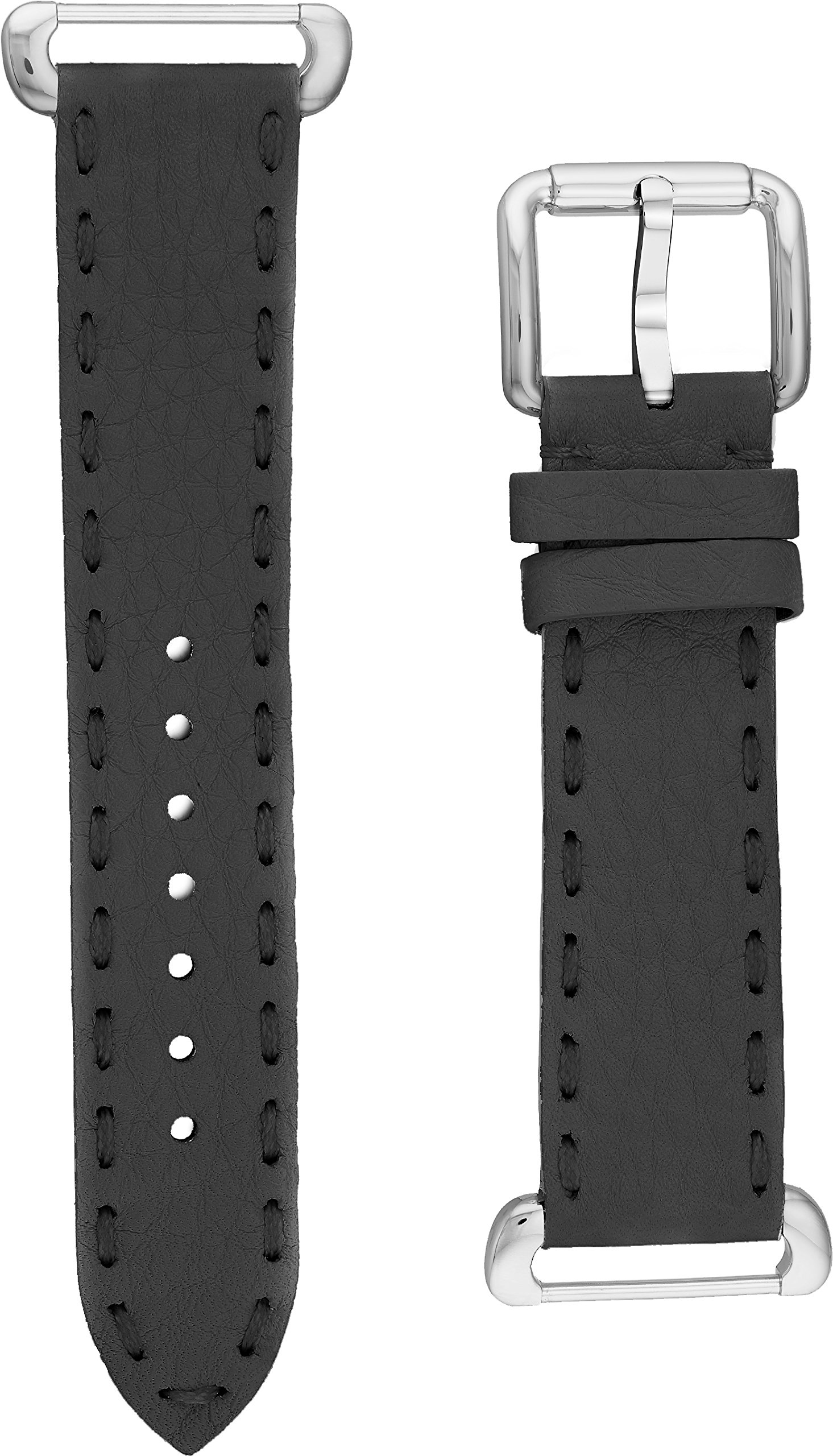 Fendi Selleria Interchangeable Replacement Watch Band - 18mm Grey Calfskin Leather Strap with Pin Buckle SSN18R06S