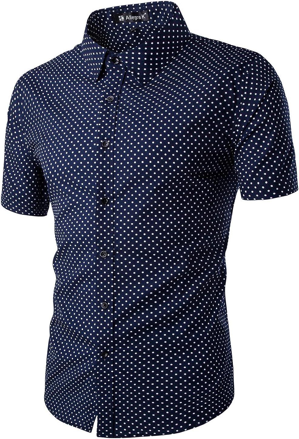 Uxcell - Camisa de manga corta para hombre, diseño de lunares, con botones
