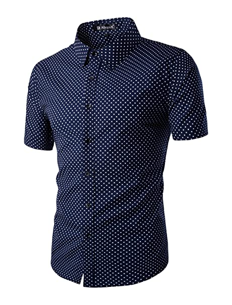 2535aa092 uxcell Men Short Sleeves Dots Allover Print Cotton Button Down Shirt ...