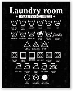 PGbureau 11x14 in Laundry Room Decor – Wall Art Symbols Poster – Laundry Decoration – Room Sign (Black)