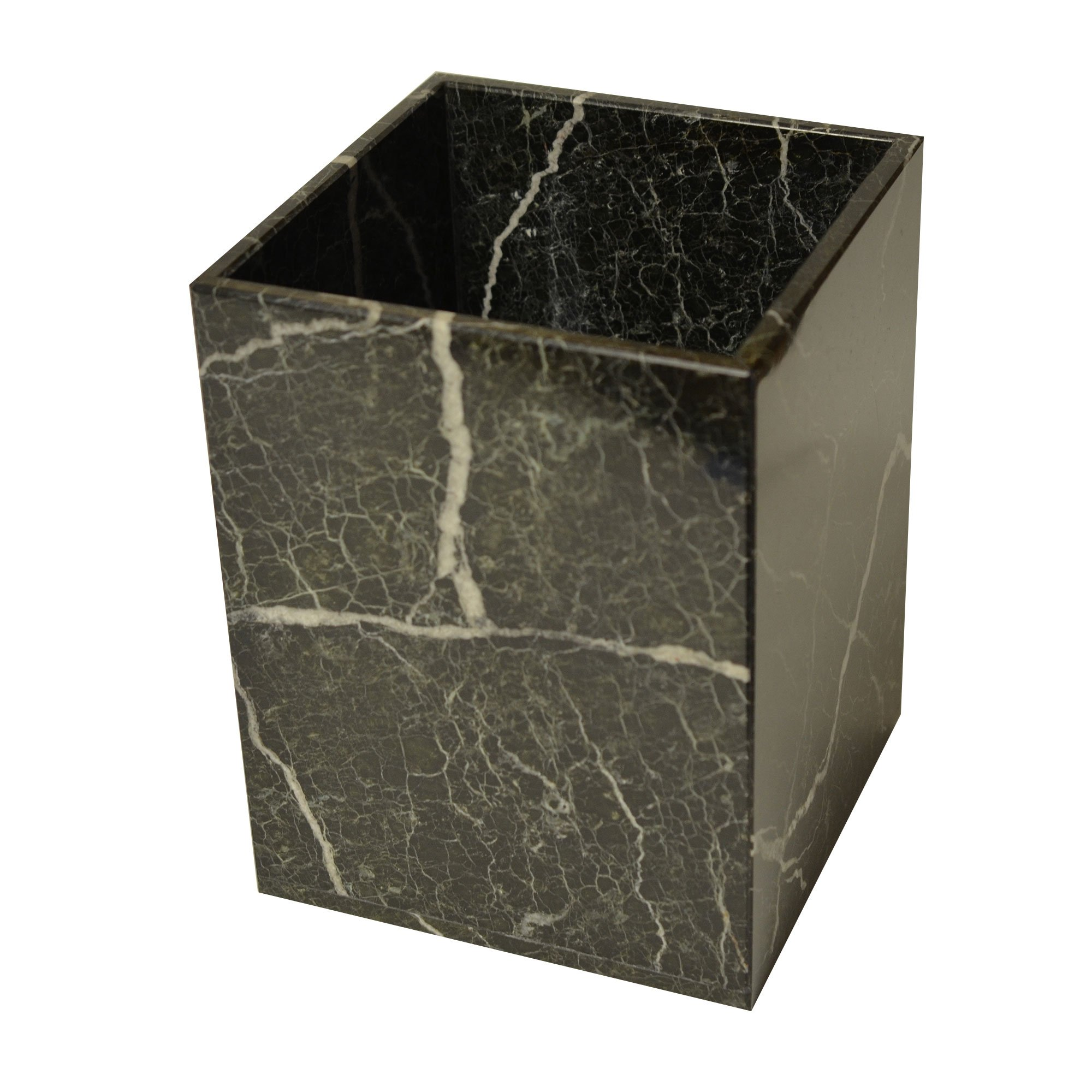 Polished Marble Wastebasket, Black Zebra Shower and Bathroom Accessory