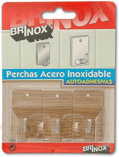 2.6x4.3x2.1 cm Madera Brinox Percha Mediana Adhesiva