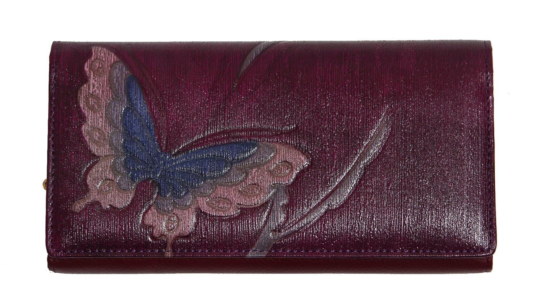 蝶 淀川染 アルカン染 牛革 長財布 がま口 日本製 B00OLANIPO  パープル