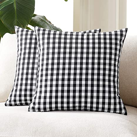 Foindtower Pack Of 2 Farmhouse Decorative Gingham Throw Pillow Covers Classic Check Plaid Cushion Cover Rustic Retro Home Decor For Couch Bedroom Chair 18 X 18 Inch Black And White Home