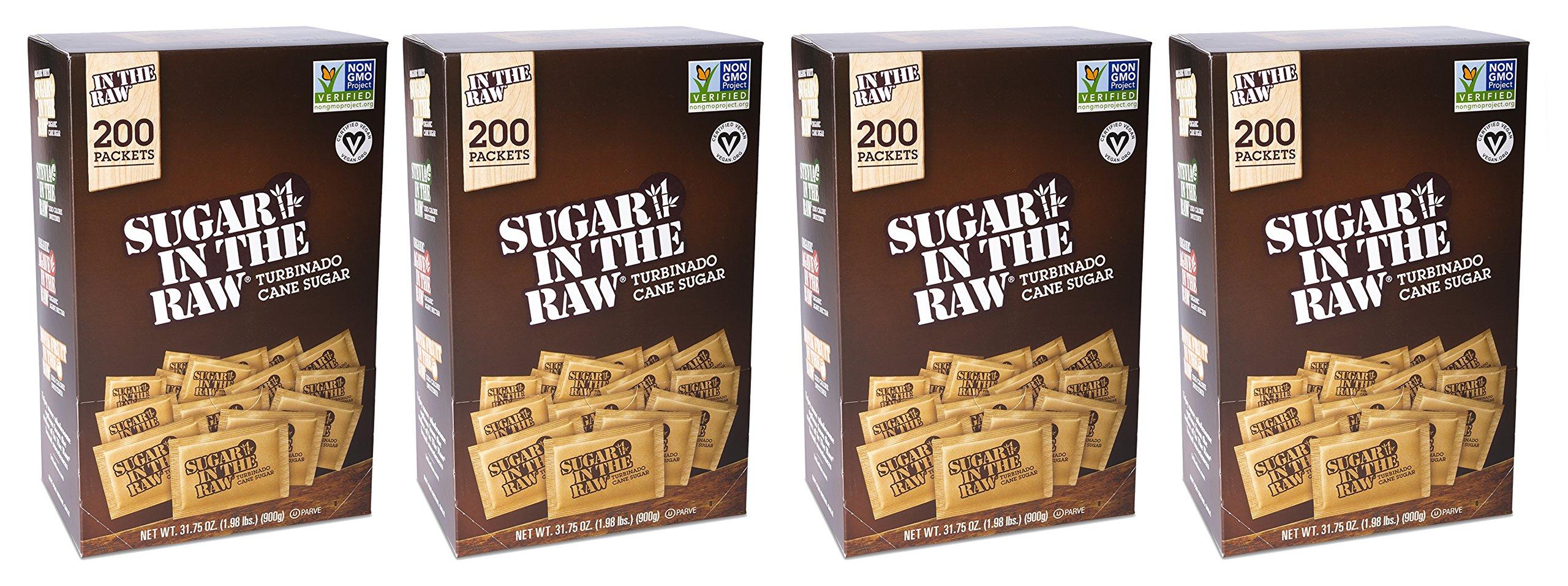 Folgers Sugar In The Raw Turbinado Cane Sugar, 200 Count (Pack Of 4)