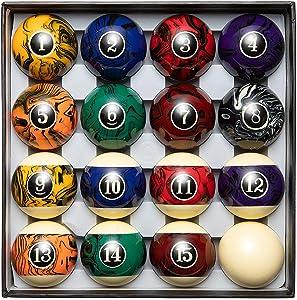 Blackfox Pool Balls, Marble Style, Billiard Balls Regulation Size, with 16 Balls, Balanced Pool Table Balls - Professional Pool Table Accessories-Premium Marbled Pool Ball Set