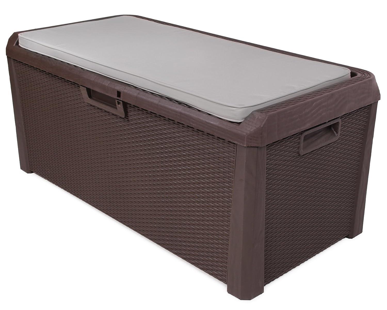 Ondis24 Kissenbox Auflagenbox Santo Rattan Optik braun Sitztruhe inkl. passender Auflage (beige) 560 Liter XXL