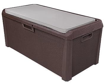 Sitztruhe Garten kissenbox auflagenbox santo rattan optik braun sitztruhe inkl