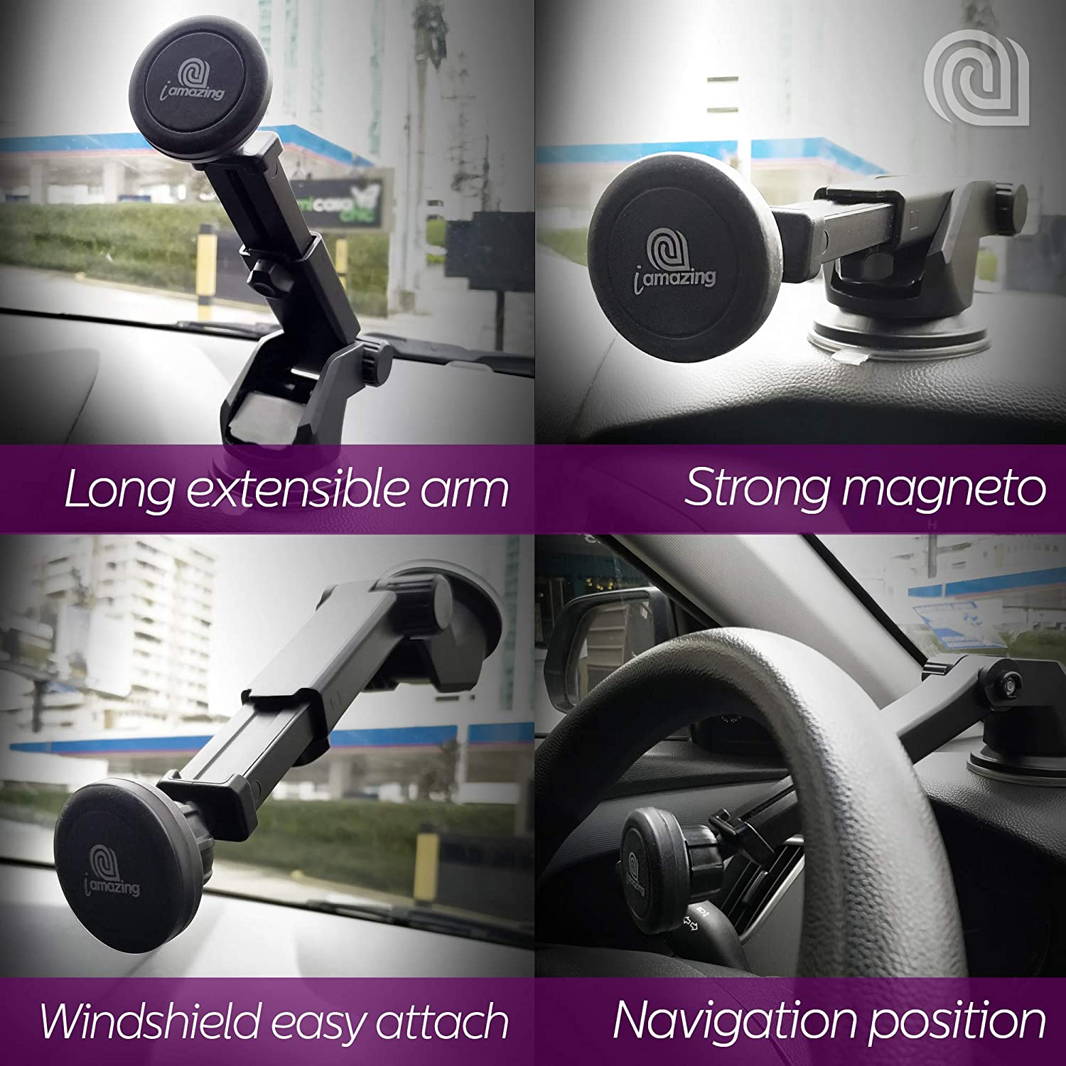 iAMAZING Magnetic Phone Car Mount Car Dashboard Phone Holder Black Compatible with iPhone Xs X 8 8Plus 7 7s 6s Plus 6s 5s 5c Samsung Galaxy S10 S9 S8 Edge S7 S6 Note 9 Xiaomi