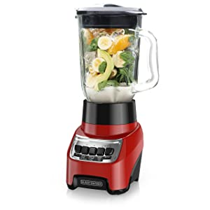 BLACK+DECKER Countertop Blender with 6-Cup Glass Jar, 10-Speed Settings, Red, BL1210RG