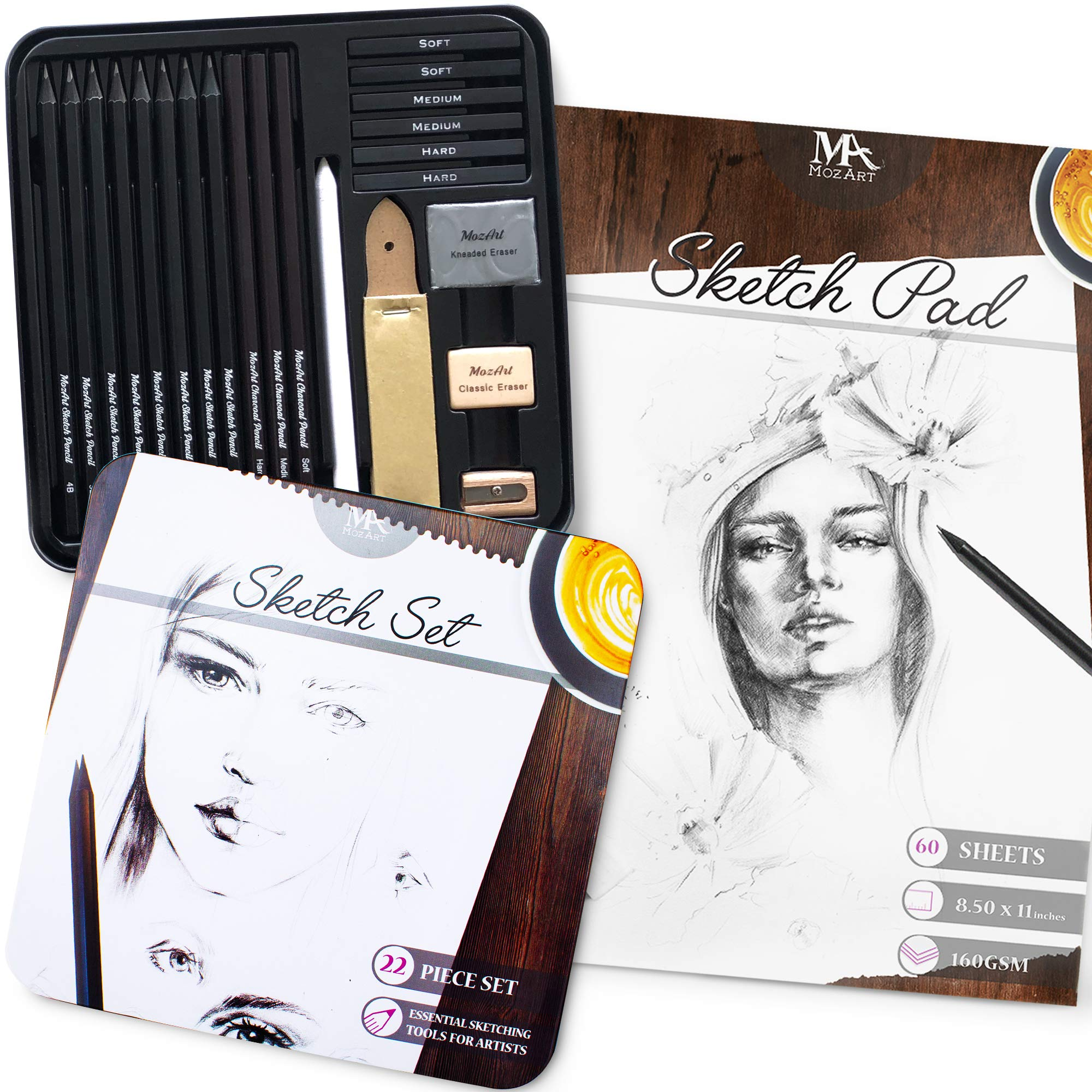 Artists' 22 Piece Complete Essential Sketch Set and 8.5 x 11 inches Sketch Paper, 160 GSM with 60 Sheets - Premium Sketch Art Supplies - Portable for Home, Studio, School- MozArt Supplies by MozArt Supplies