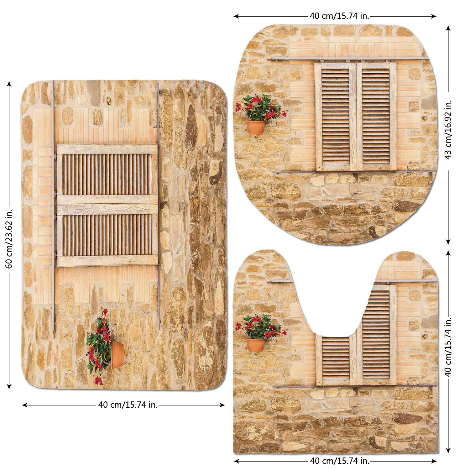 3 Piece Bathroom Mat Set,Tuscan,Rustic Stone House and Window Shutters Flower Pot on Wall Italian Country Home Theme,Beige,Bath Mat,Bathroom Carpet Rug,Non-Slip