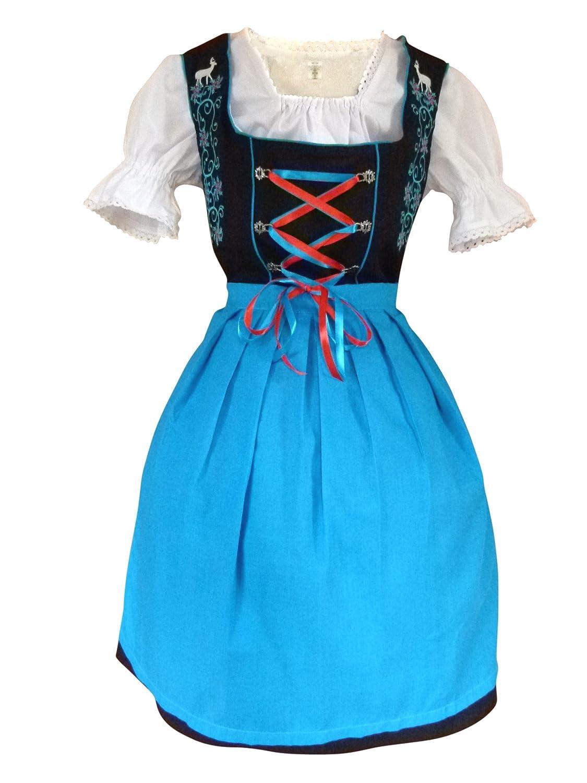 Di20bs Midi Dirndl, 3 teiliges Trachtenkleid in blau schwarz, Kleid mit Bluse und blauer Schürze, Rocklänge ca 60 cm, Gr. 34-52