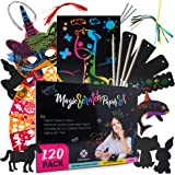 Scratch Paper Art Notes for Kids - 120 Set Magic Scratch Paper Notes Craft Supplies Stencils Bamboo Styluses Bookmarks…
