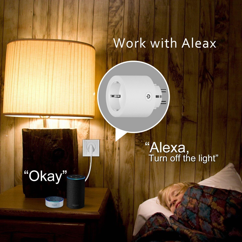 WAZA/® WLAN Smart Plug Mini Smart Plug funciona con  Alexa y Google Home EU Plug para IOS//Android Phone Remote Control Blanco