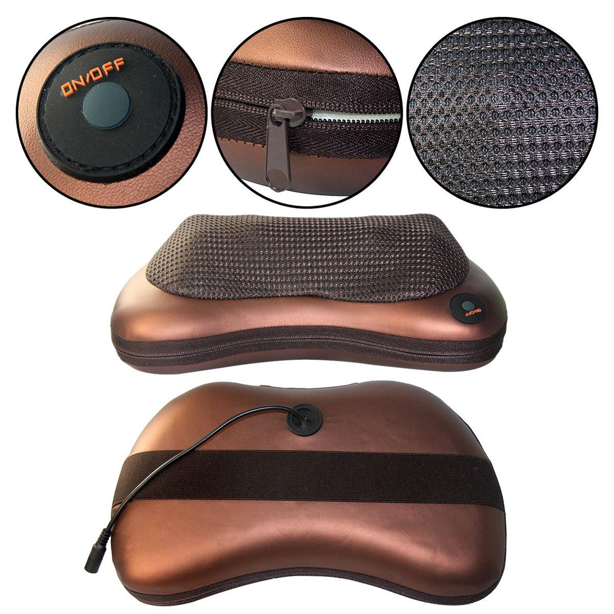 Eléctrico Cuello Espalda Hombro Shiatsu Almohada Masajeador para Hogar, Oficina y Coches (8 Rodillos Térmicos Infrarrojos)