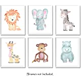 Baby Safari Animals Prints for Nursery - Set of 6 8x10 Poster Pictures of Lion,