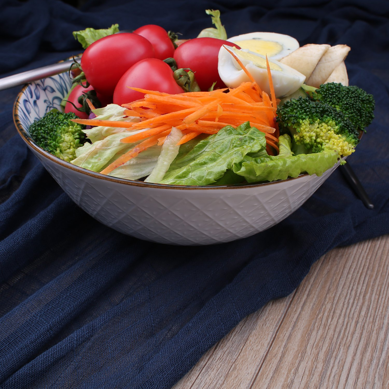 40-Ounce Porcelain Soup,Salad,Pasta Serving Bowls, Assorted Floral Patterns, Stackable Deep Bowl Set of 4 by YALONG (Image #5)