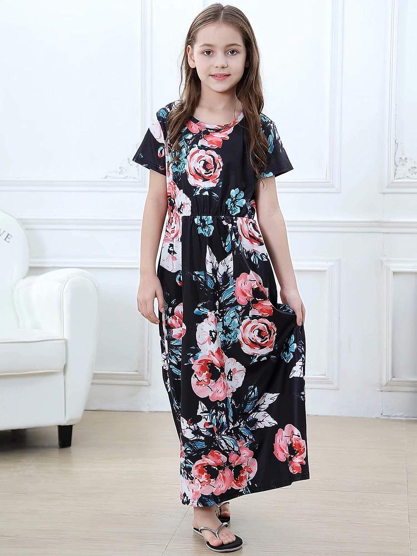 YAELLT Girls Floral Dress Kids Summer Print Long Maxi Casual Dress Bohemian Style Fit for5-10Years