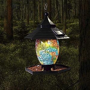Bird Feeder for Outside Hanging Outdoor,Mosaic Decor,Solar Powered Garden Lantern Lights Bird-House Wild Hanging Bird Feeder