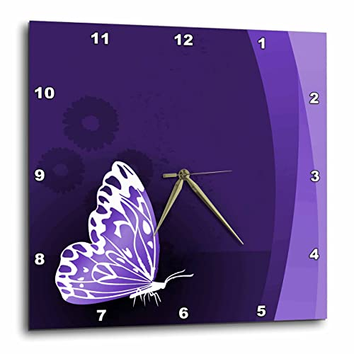 3dRose DPP_101436_1 Pretty Purple and White Butterfly on A Purple Background-Wall Clock, 10 by 10-Inch