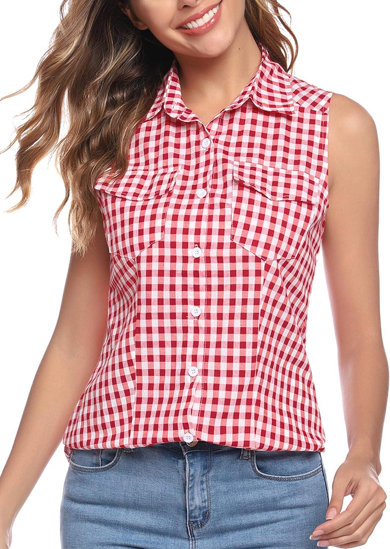 Abollria Camisetas sin Mangas Blusas de Cuadros para Mujers Camisas Casual Estilo de Boyfriend para Festival de la Cerveza