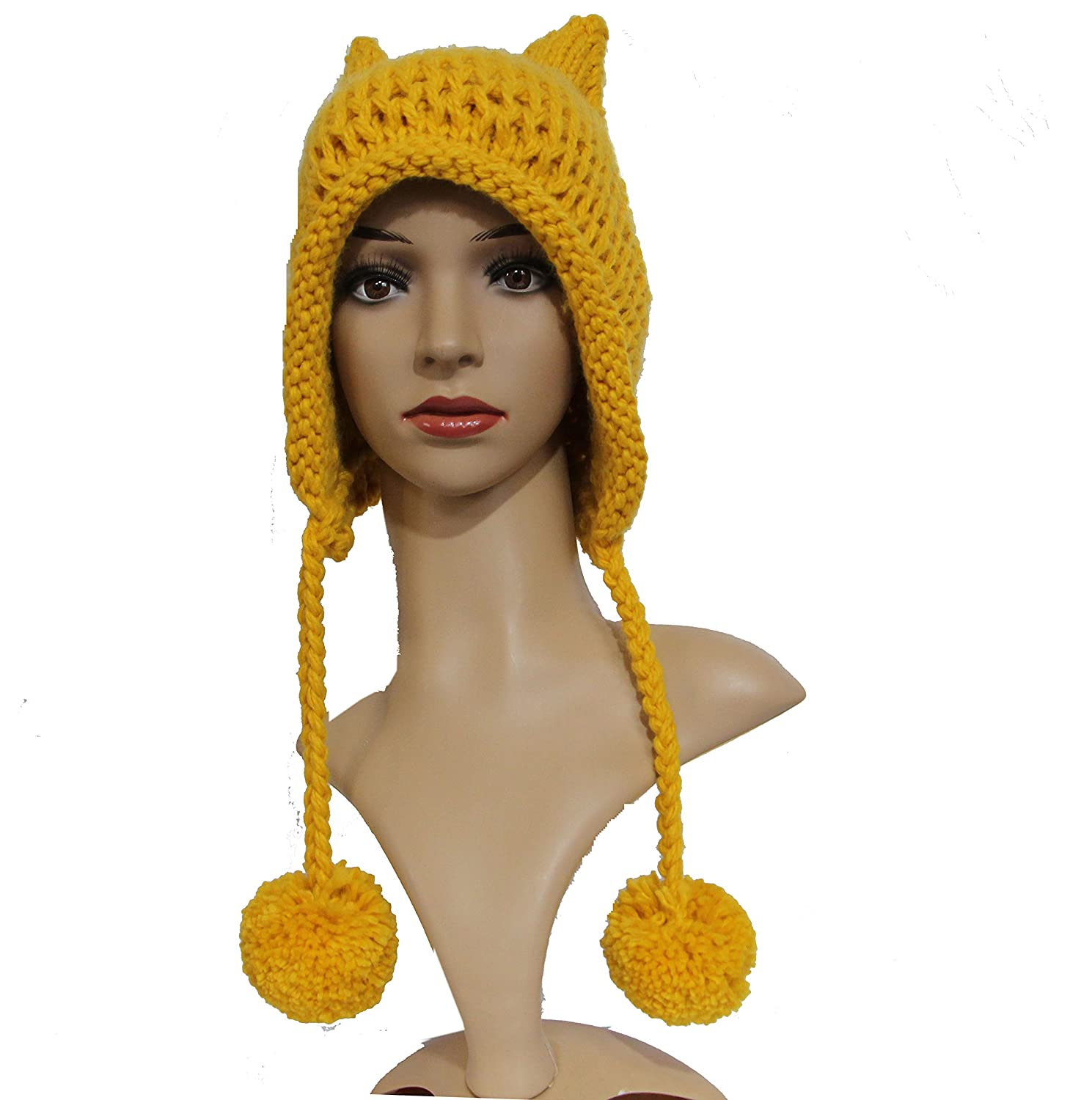 ALLDECOR Knitted Hat with Pom Pom Ear Cap Hot Pink Pussycat Beanie for Womens March