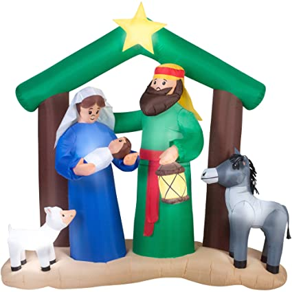 low priced 954fd d8214 Christmas Inflatable Holy Family Nativity Scene by Holiday Time