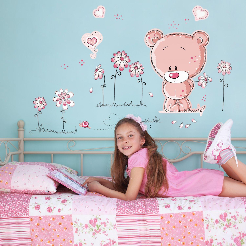 Walplus Stickers muraux pour chambre de bébé Ours en peluche Rose