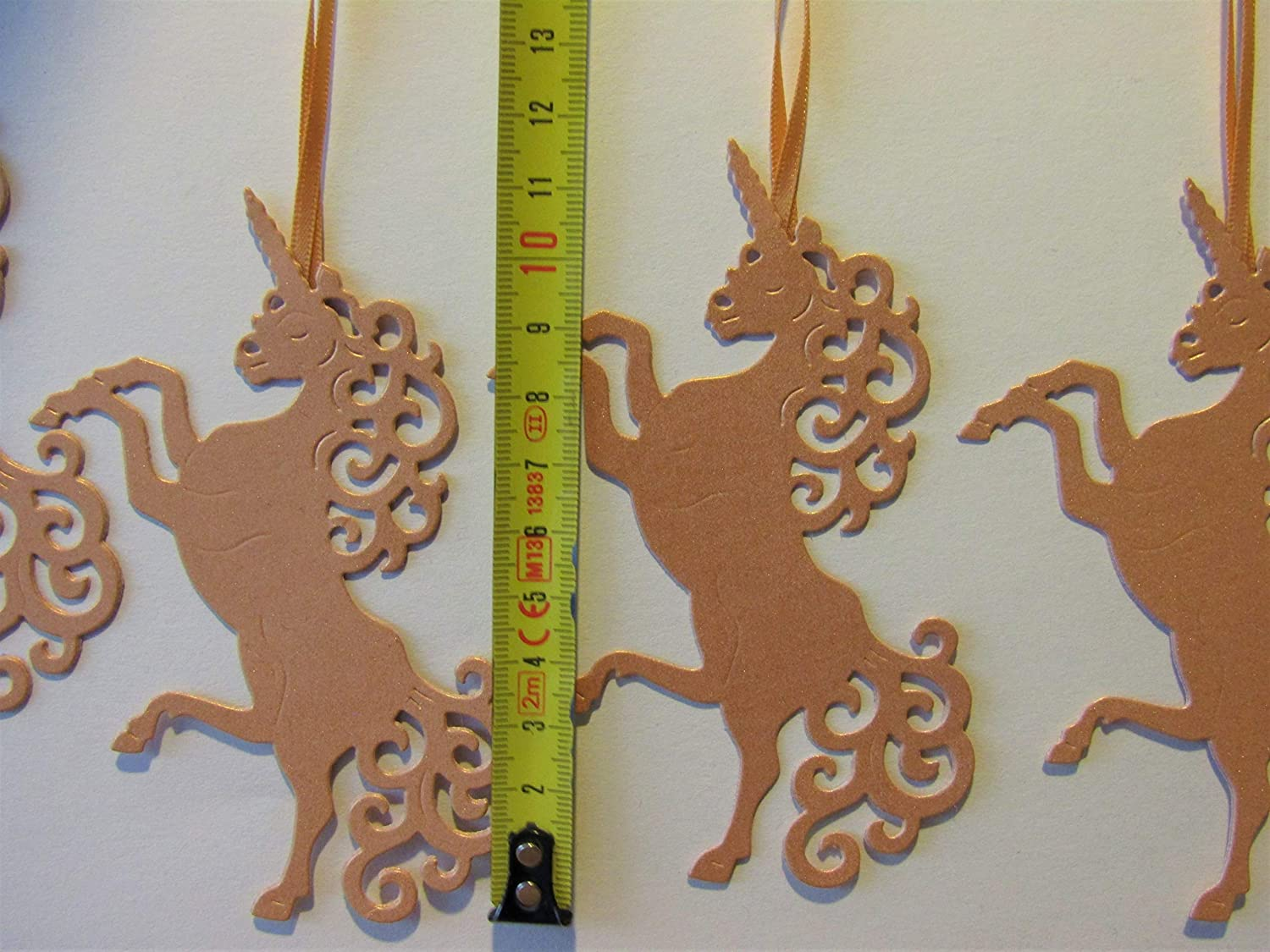 pack 4 Environmentally friendly Winter Wedding rose gold Unicorn Christmas Tree Decorations recycle