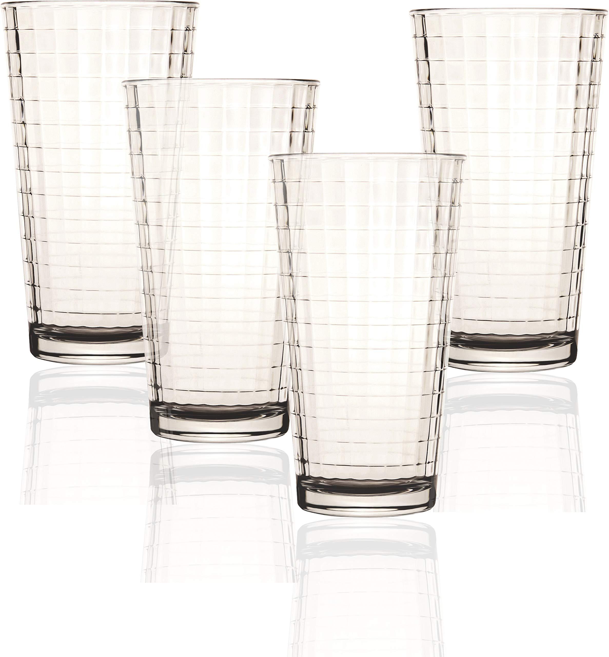 Circleware 40110 Matrix Set of 4-15.7 oz,Heavy Base Highball Tumbler Drinking Glasses, Entertainment Beverage Glassware Ice Tea Cups for Water, Juice, Milk, Beer, Farmhouse Decor, 4pc, Windowpane